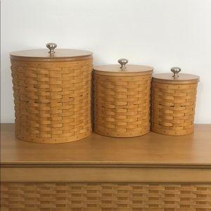 Longaberger 💐 Handwoven Basket Canister Set Of 3